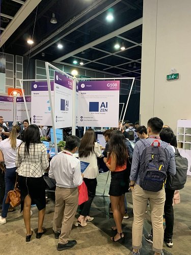 홍콩 RISE 2019 에이젠글로벌(AIZEN)부스에서 IT, 금융, 투자 관계자 등 상담을 진행하고 있다/사진제공=에이젠글로벌