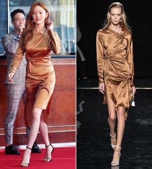 이성경, 금빛 실크 드레스 자태…런웨이 모델은?