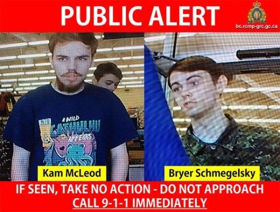 23일(현지시간) 캐나다왕립기마경찰(RCMP)이 3명의 살인사건 용의자로 지목한 캠 맥크러드(19·왼쪽)과 브라이어 슈메겔스키(18). /사진=RCMP 트위터