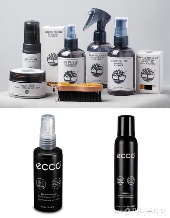 (상단)팀버랜드 프로덕트 케어 제품들 (하단)에코 슈 리프레셔 스프레이, 방수 스프레이 에코 레펠/사진제공=팀버랜드, 에코