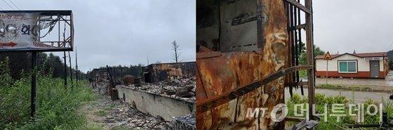 강원 고성에서 산불 피해를 입은 펜션(왼쪽), 산불로 전소된 주택과 뒤로 보이는 임시주택/ 사진=김지성 인턴기자