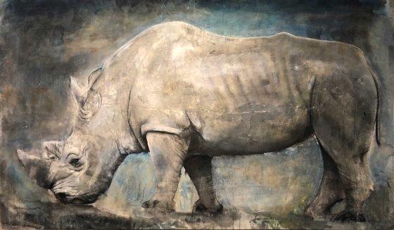 러스 로냇(Russ Ronat, 흰코뿔소(White Rhino), Mixed media on Canvas, 274 x 160cm, 2018. /사진제공=사비나미술관