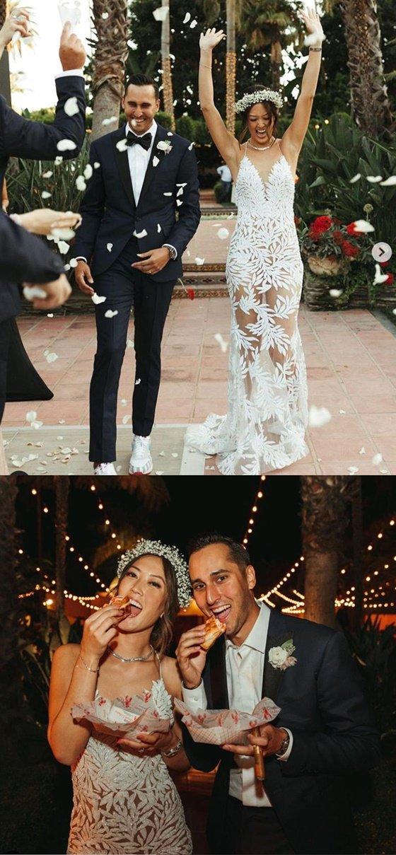 조니 웨스트(왼쪽)와 미셸 위 결혼 사진. /사진=미셸 위 인스타그램 캡처