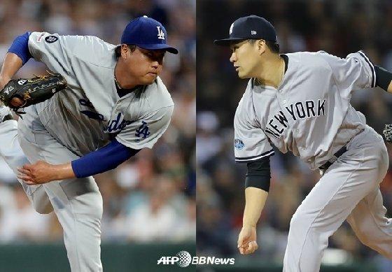 LA 다저스 류현진(좌)과 뉴욕 양키스 다나카 마사히로. /AFPBBNews=뉴스1<br> <br>