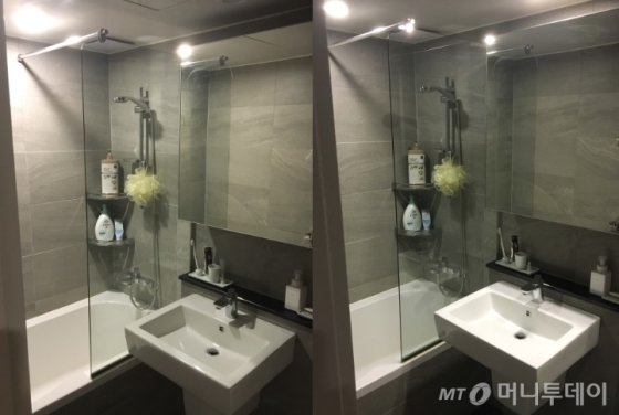 조명 스위치 1개를 켰을 때(왼쪽)와 2개를 모두 켰을 때(오른쪽) 느낌 비교. 절반만 켜도, 화장실을 쓰는데 전혀 무리가 없다. /사진=남형도 기자