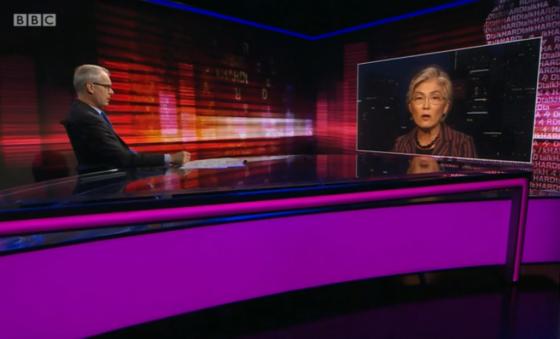 강경화 외교부 장관이 BBC와 화상 인터뷰를 하고 있는 모습. /사진=BBC 캡쳐