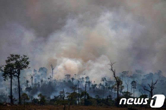 지난달 27일 (현지시간) 브라질 북부 파라주의 알타미라에 있는 아마존 우림에서 화재가 발생해 검은 연기가 솟아오르고 있다. © AFP=뉴스1