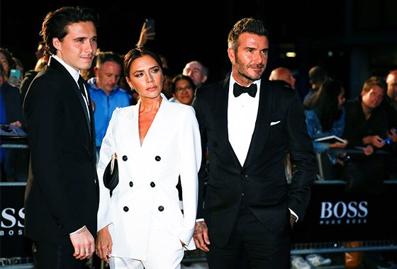 (왼쪽부터 순서대로)브루클린 베컴, 빅토리아 베컴, 데이비드 베컴/사진=로이터