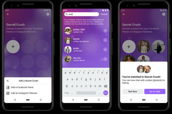 페이스북이 5일(현지시간) 미국에서 출시한 '데이팅' 서비스의 '짝사랑'(Secret Crush) 기능 /사진=페이스북