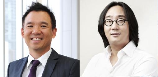 김정주 NXC 대표(왼쪽)와 허민 원더홀딩스 대표.
