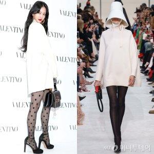한예슬 vs 모델, 흰 원피스에 검정 스타킹…