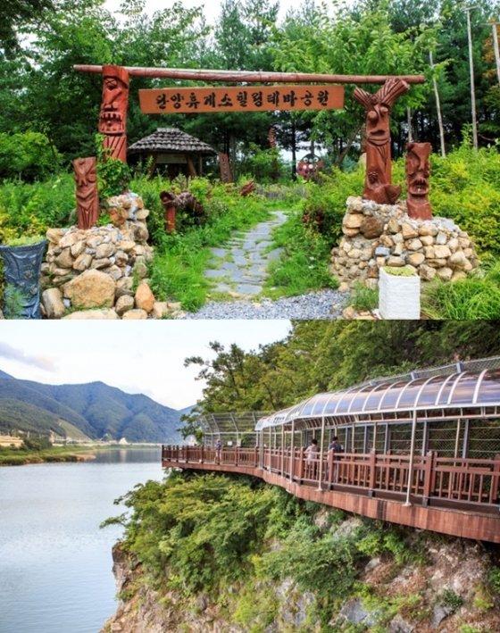 단양팔경휴게소가 꾸며놓은 원두막(위)과 인근 단양강을 따라 마련된 잔도의 모습. /사진=한국관광공사