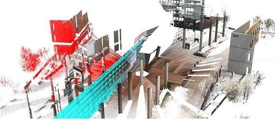 3차원 영상에서 유리면(하늘색)과 허상(붉은색)을 검출한 장면/사진=UNIST