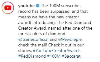 '레드 다이아몬드 버튼' 에 대한 설명. / 사진 = 유튜브 공식 인스타그램
