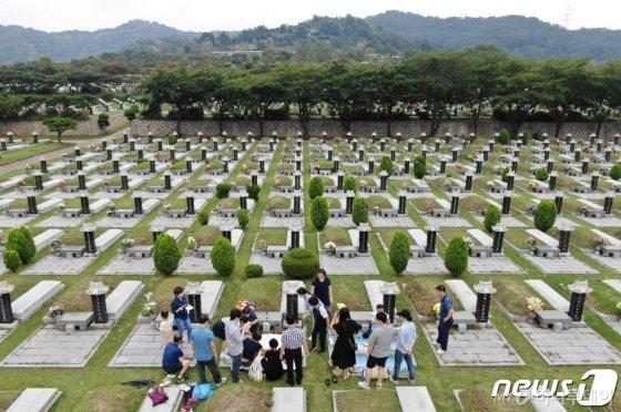 (인천=뉴스1) 박세연 기자 = 추석을 앞둔 8일 인천시 인천가족공원묘지를 찾은 시민들이 성묘를 하고 있다. 2019.9.8/뉴스1 <저작권자 © 뉴스1코리아, 무단전재 및 재배포 금지><br>