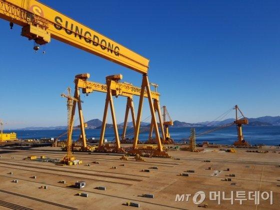 경남 통영에 위치한 성동조선해양 2야드 전경. /사진=강기준 기자.