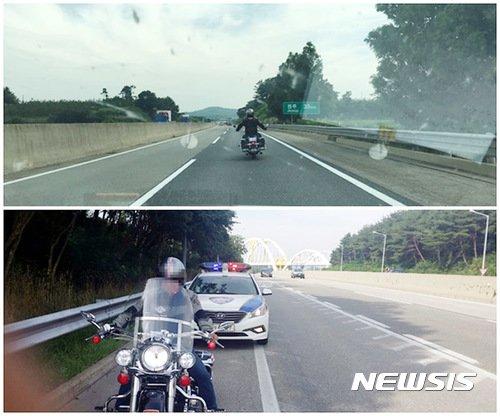 2017년 7월 22일 오전 호남고속도로 상행선에서 회사원 김모(49)씨가 자신의 수입 오토바이를 불법 운행하고 있다. 사진은 기사 내용과 관계 없음. / 사진 = 뉴시스
