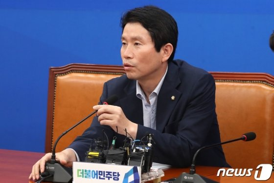 이인영 더불어민주당 원내대표가 11일 오후 서울 여의도 국회에서 기자간담회를 갖고 있다. /사진=뉴스1