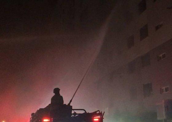 12일 오전 4시20분께 광주 광산구 송정동 한 아파트 5층에서 불이 나 50대 부부가 숨지고 자녀·이웃 등 4명이 부상을 입었다./사진제공=사진=광주 광산소방서