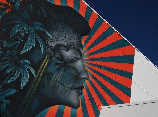 미국 로스앤젤레스(LA)의 로버트 F.케네디 공립학교 건물 외벽에 그려졌던 벽화/사진=AFP