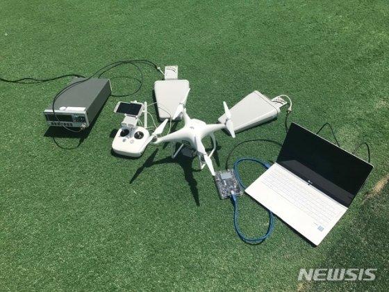 신호 위조를 통해 드론을 납치할 수 있는 안티 드론 기술이 KAIST에 의해 개발됐다. PC로부터 위조 GPS 전파를 생성해 지향성 안테나를 이용, 드론에 신호를 주입하는 방식이다. 사진은 KAIST의 안티 드론을 구성하는 장비들/사진 제공=KAIST, 뉴시스