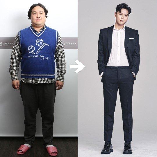 104kg에서 72kg으로 감량한 유재환 다이어트 전후 모습/사진 제공=쥬비스