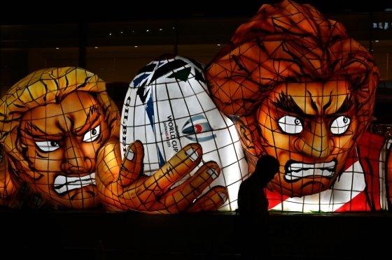 일본 오이타현에 설치된 도쿄 럭비월드컵 홍보 설치물. /사진=AFP