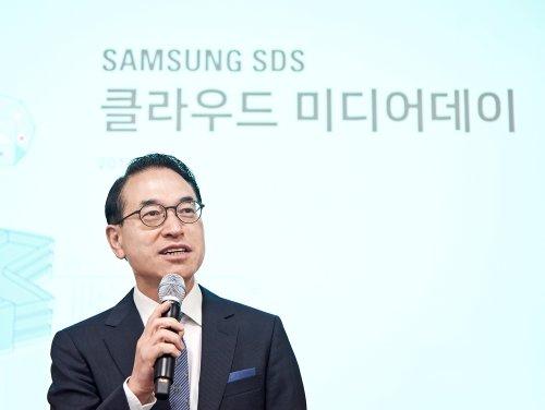 홍원표 삼성SDS 대표가 20일 춘천 데이터센터에서 열린 '클라우드 미디어데이'에서 클라우드 사업 계획을 밝히고 있다./사진=삼성SDS
