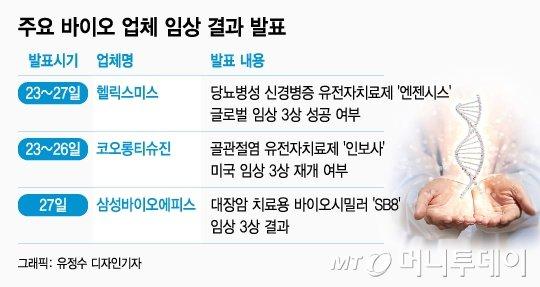 이번주 '수조원짜리 임상' 줄줄이 발표… K-바이오 분수령 - 머니투데이 뉴스