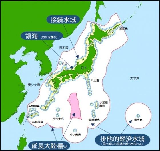 일본이 주장하는 영해(노란 부분)와 배타적경제수역(하얀 부분). /사진=일본 해상보안청