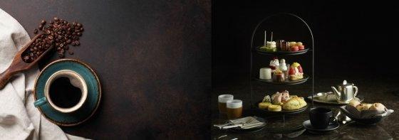 그랜드 힐튼 서울은 '코지 커피 타임' 패키지로 객실에서 단풍을 바라보며 커피를 마실 수 있다. 서울신라호텔은 가을 계절감은 살린 '골든 애프터눈 티'를 선보였다. /사진=그랜드 힐튼 서울, 서울신라호텔