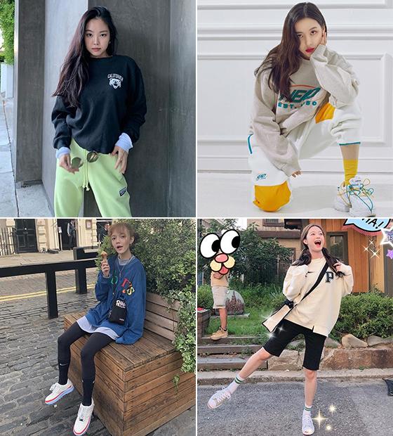 왼쪽부터 시계방향으로 그룹 에이핑크 손나은, 가수 선미, 배우 전소민, 그룹 AOA 지민/사진=각 스타 인스타그램