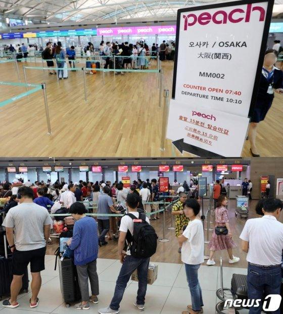 지난 7월 인천국제공항 1터미널 일본 오사카행 피치항공 체크인 카운터가 한산한 반면(위 사진), 베트남 하노이행 비엣젯 체크인 카운터에는 여행객이 길게 줄 서 있다. /사진=뉴스1