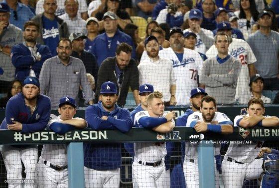 패배가 확정될 즈음 LA 다저스의 더그아웃 모습/AFPBBNews=뉴스1