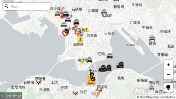 애플 플레이스토어의 홍콩지도 앱, 경찰 위치와 최루탄 발사지가 표시되어 있다/사진=뉴시스