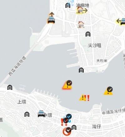반(反)중 집회에 나선 홍콩 시위대가 경찰의 움직임을 파악하기 위해 사용해온 실시간 지도 앱 '홍콩맵라이브(HKmap.live)'가 여행객들 사이에서 활용되고 있다. /사진= 홍콩 민주화운동을 지지해주세요 SNS 트위터 캡처