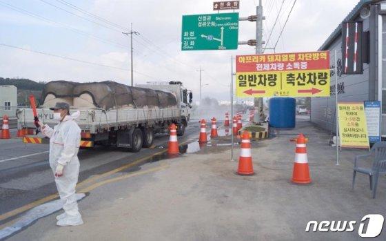 14일 오전 강원 철원군 갈말읍 지포리 거점소독시설에서 일반차량들이 소독을 받고 있다. /사진=뉴스1