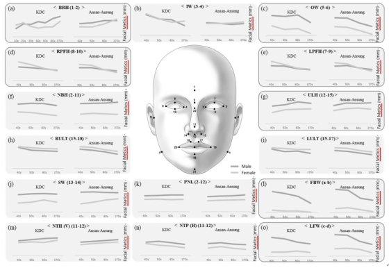 테라젠이텍스가 발표한 '한국인 얼굴 지표의 연령별 분포' 논문 내 삽입된 사진으로, 한국인의 얼굴 각 부위별 길이나 높이 등의 수치가 연령에 따라 공통적인 변화한다는 것을 보여준다./사진=테라젠이텍스
