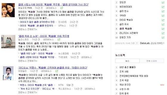 실시간 검색어 위주로, 천편일률적으로 비슷하게 나오는 포털 기사들./사진=네이버 검색 결과 화면 캡쳐