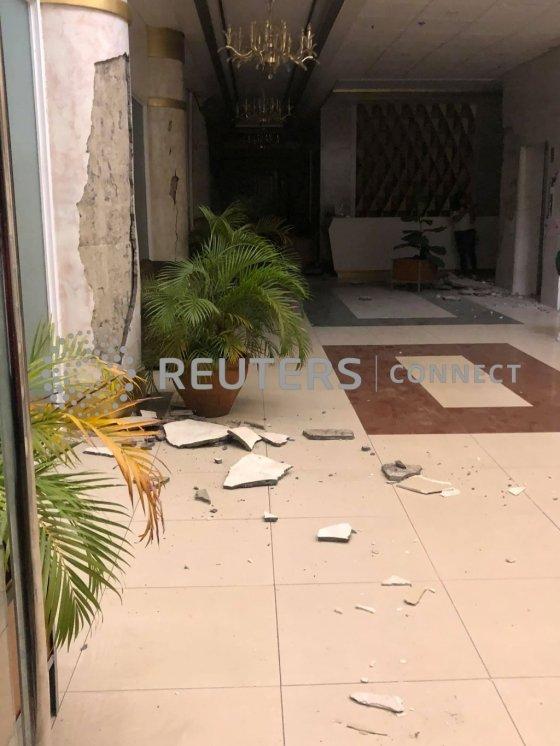 16일(현지시간) 필리핀 남부 민다나오에서 지진이 발생해 건물이 무너져 있다. /사진=로이터