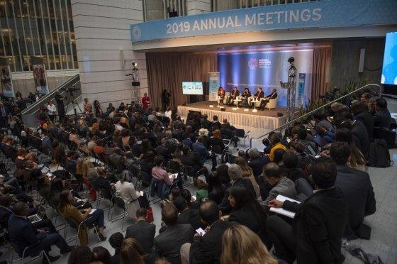 16일(현지시간) 미국 워싱턴DC에 있는 세계은행 본부에서 열린 국제통화기금(IMF)-WB 연차총회 관련 행사 모습. /사진=AFP