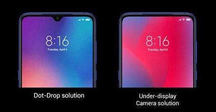 노치가 적용된 화면과 언더 디스플레이 카메라가 적용된 화면 비교 /사진=샤오미