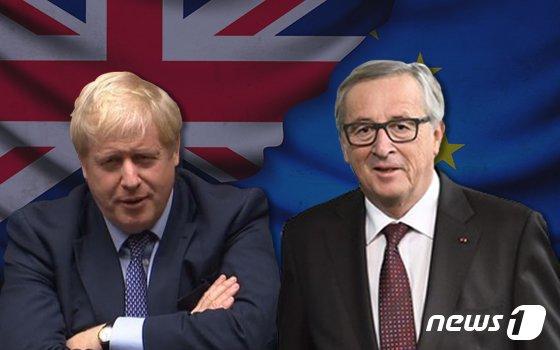 보리스 존슨 영국 총리(왼쪽)와 장 클로드 융커 유럽연합(EU) 집행위원회장.© News1 이지원 디자이너