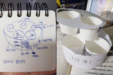 이은희 대표가 처음 그려 본 설계도(좌)와 종이컵으로 만들어 본 보온 식판 모형 /사진제공=이은희 대표