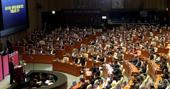 [사진]문 대통령 시정연설, 항의하는 한국당