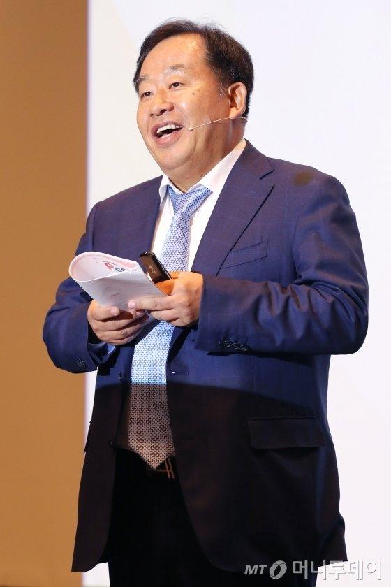 손주은 메가스터디 회장이 22일 서울 종로구 포시즌스 호텔에서 열린 머니투데이 주최 '2019 인구이야기 팝콘(PopCon)'에서 '교육의 미래'에 대해 주제발표를 하고 있다. / 사진=이기범 기자 leekb@