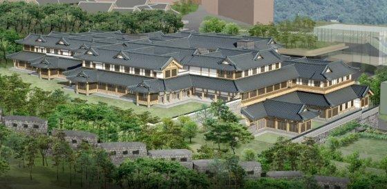 호텔신라가 서울 중구 장충동에 건립할 예정인 전통한옥호텔 투시도. /사진제공=호텔신라