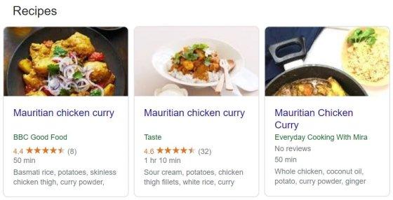 모리셔스 치킨 커리 레시피 /사진=구글 검색 결과