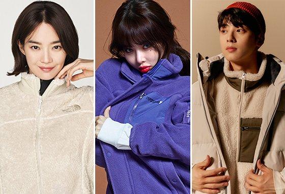 배우 신민아, 가수 현아, 그룹 아스트로 차은우/사진제공=노스페이스, 클라이드 앤, 폴햄
