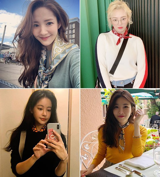 왼쪽부터 시계 방향으로 배우 박민영, 그룹 소녀시대 효연, 그룹 다비치 이해리, 배우 오연서/사진=각 스타 인스타그램